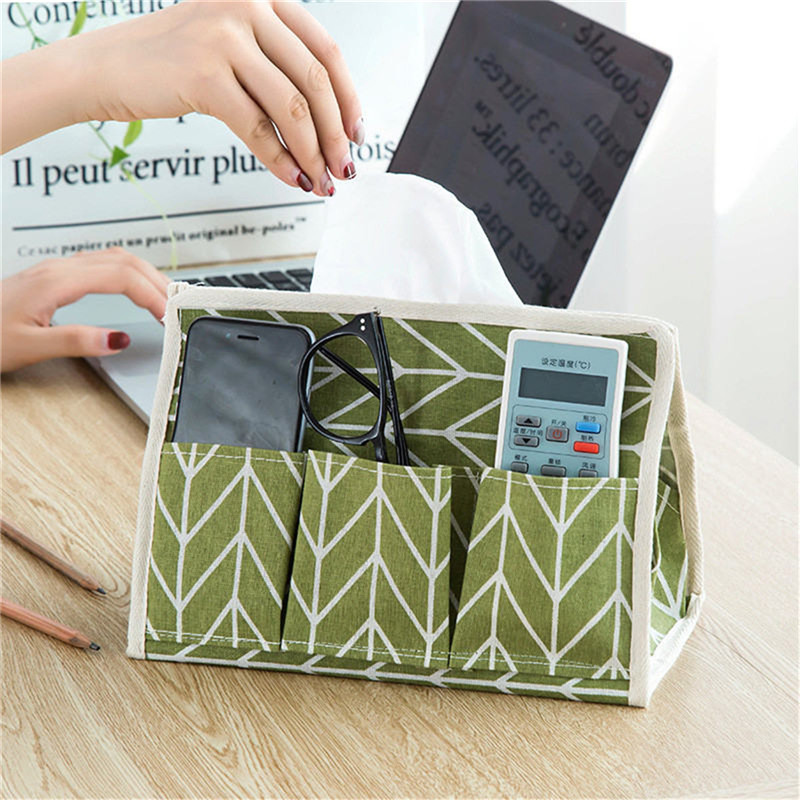 Creative Practical Desktop Storage Boxes Cosmetic Battery Folding Organizer Makeup Storage Box Organizer Wooden Canvas Bag