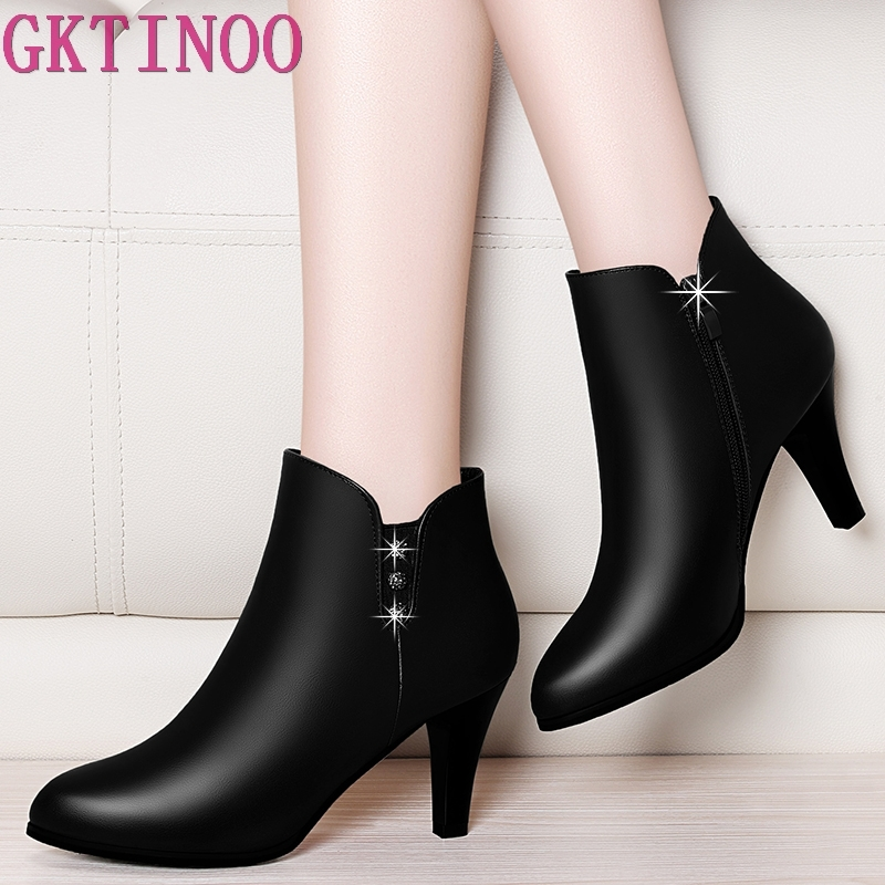 GKTINOO High Heel Female Woman Fashion Elegant Ankle Boots Autumn Winter Leather Boots Spring Sexy Lady