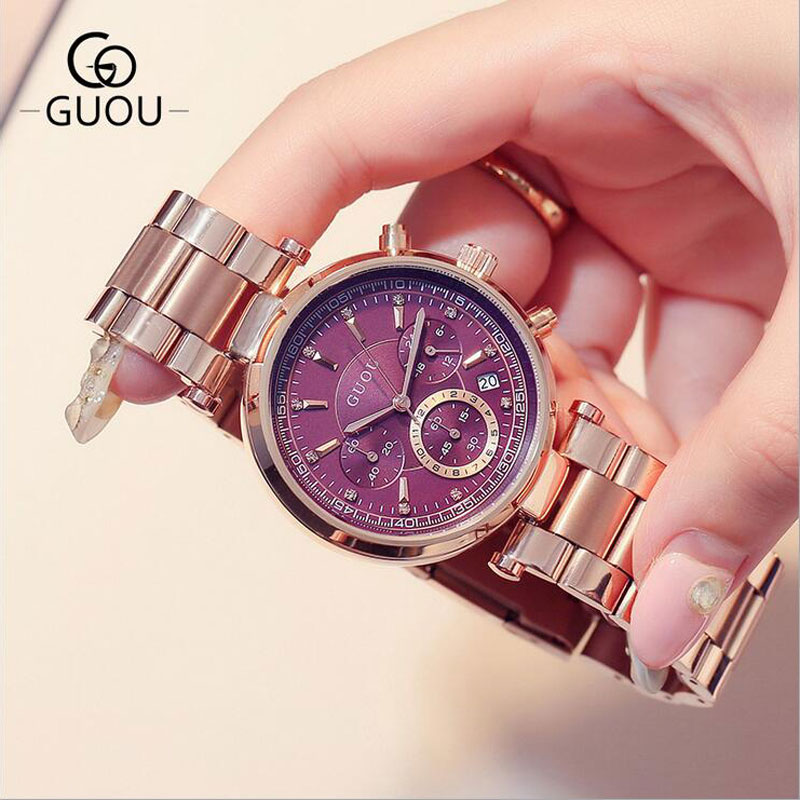 GUOU montre de luxe femmes Bracelet en acier Date automatique montres femmes multi-runtioan dames horloge saat relogio feminino reloj mujer - 2
