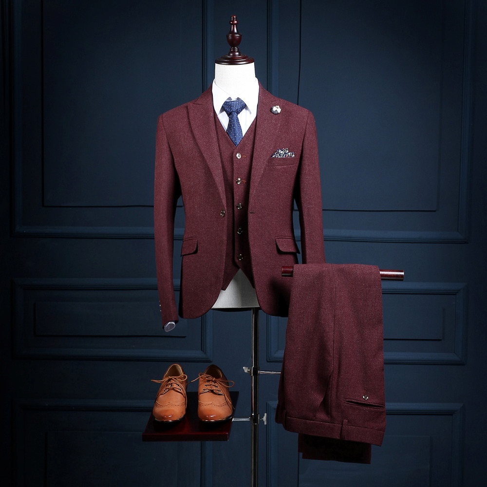 Custom Made One Button Burgundy Slim Fit Men Suit Formal