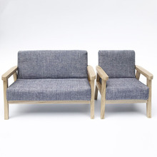 1:6 Miniature double & single sofa Wooden dollhouse Furniture Toys for dolls doll house children Pretend Play toy girls gifts