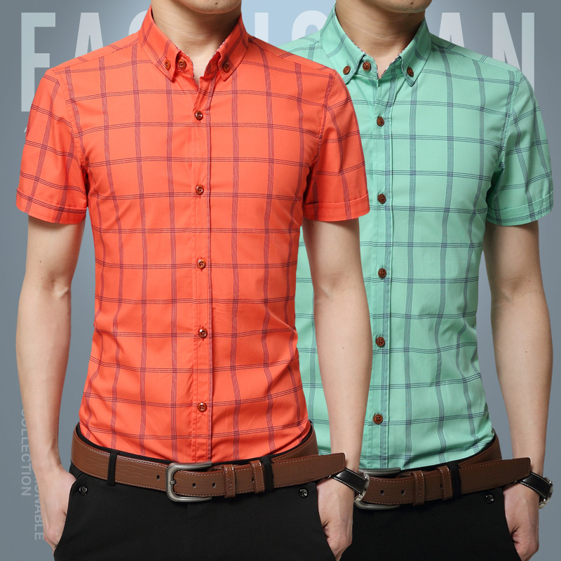 2016 New Short Sleeve Men Shirts Cotton Plaid Shirts Male