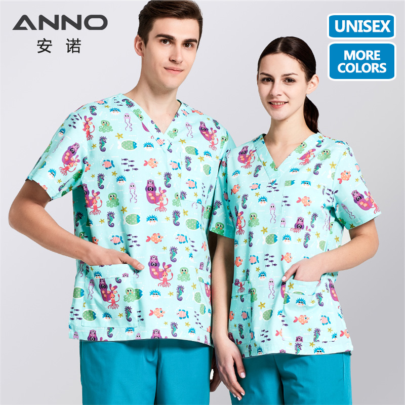 ANNO Medical Clothing Matching Women Men Cartoon  Hospital Nursing Scrubs Set Clinical Uniforms Surgical Suit