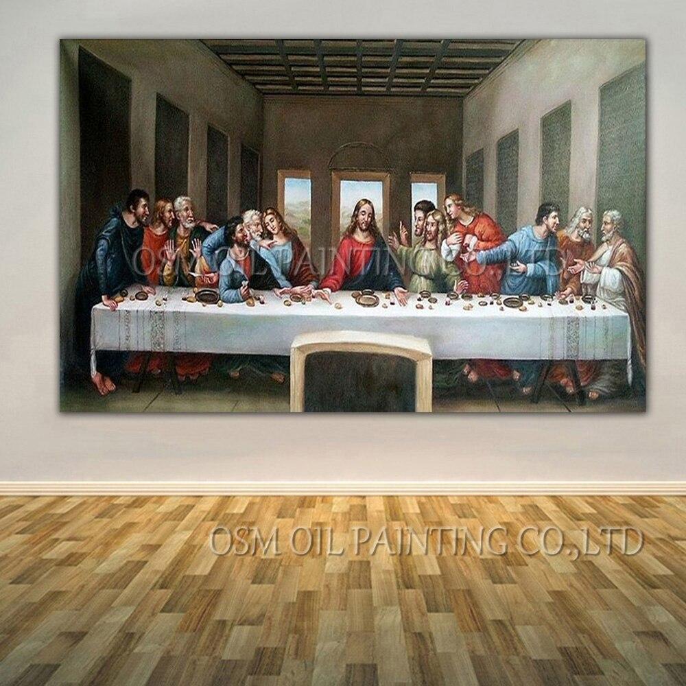 Profesionální umělec Reprodukce Vysoce kvalitní Da Vinci Olejomalba Ručně vyráběná Velikost King Klasická Poslední večeře Olejomalba