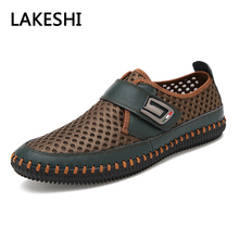 Mens Sandals PU Leather Slip On Men Shoes Soft Comfortable Casual Shoes Men Trainers