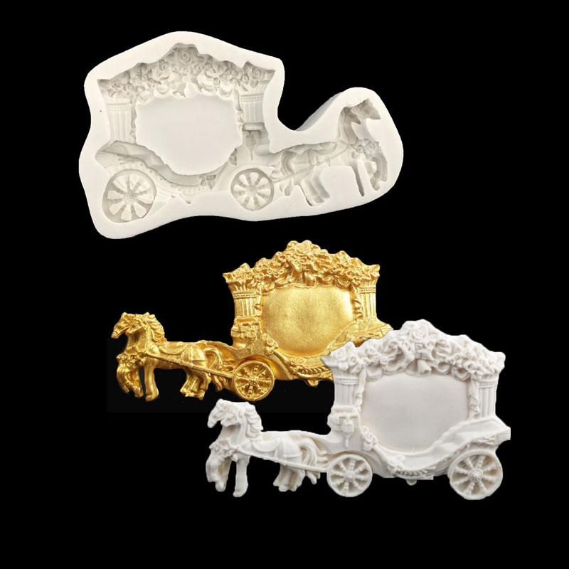 Horse Carriage Silicone Mold 3D Craft Wedding Fondant Cake Decorating Tools Sugar Paste Candy Chocolate Fimo Clay Molds