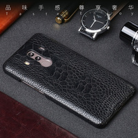 For Huawei Mate 9 10 Pro case Real Ostrich Foot skin Ultra slim Natural leather back cover For P10 P20 lite Nova 2 Plus cases