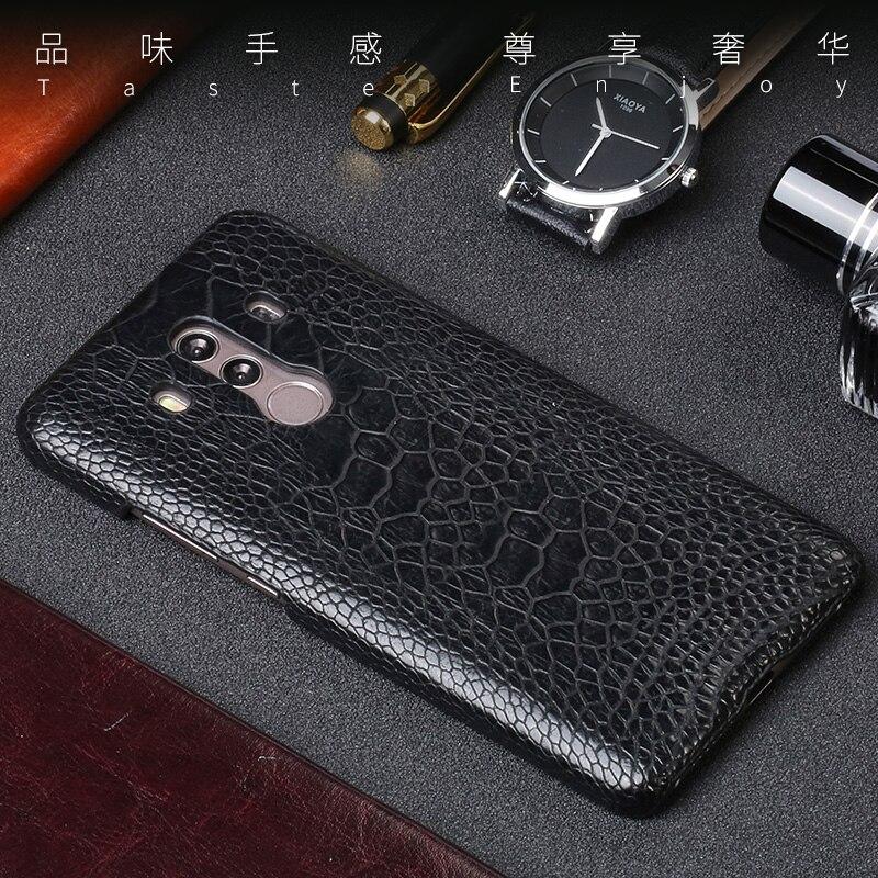 Pour Huawei Mate 9 10 Pro étui véritable peau de pied d'autruche Ultra mince couverture arrière en cuir naturel pour P10 P20 lite Nova 2 Plus étuis