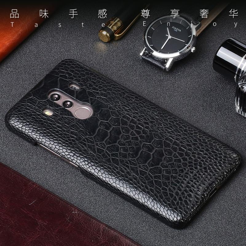 Pour Huawei Mate 9 10 Pro étui vraiment autruche peau de pied Ultra mince couverture arrière pour P10 P20 Nova 2 Plus coques de téléphone
