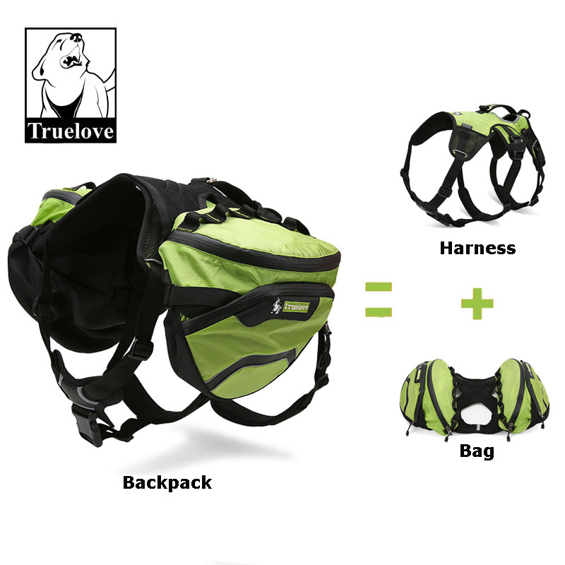 Truelove Due cani usati Imbracatura impermeabile Outdoor Camping Training Escursioni più giorni Backcountry Pet Backpack per cani