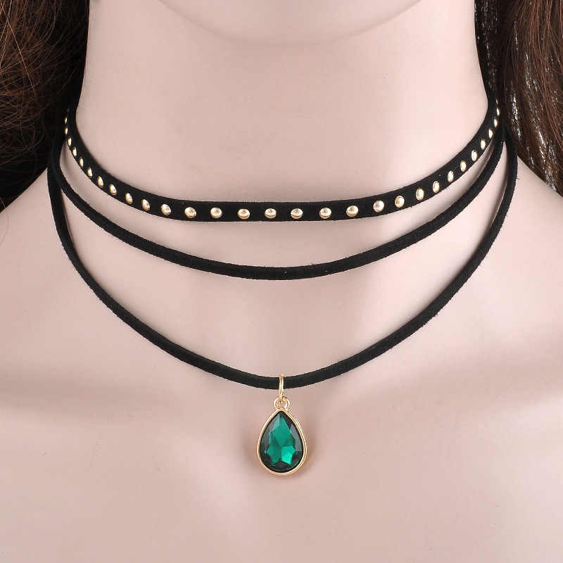 Wholesale Velvet PU Leather Rope Chain Choker Necklace For Women Chokers Bib Collar Gothic Necklaces Chocker Colar Jewelry