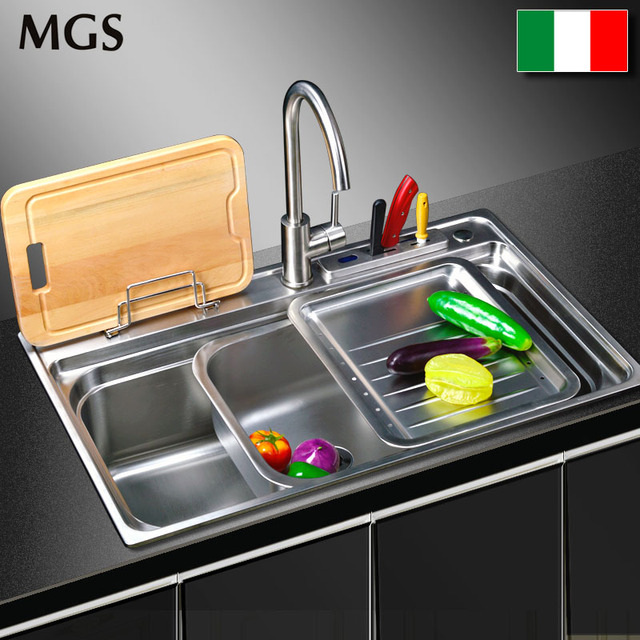 Italy MGS stainless steel sink 304 multifunctional mobile basin ...