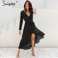 Simplee Autumn Long Sleeve Dot Ruffle Warp Dress Women Sexy V Neck Split Maxi Dress Vestidos