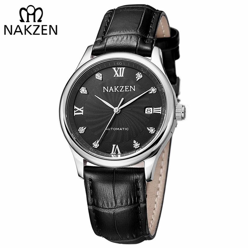 NAKZEN Men Automatic Mechanical Miyota 8215 Movement Diamond Watch Luxury Brand Casual Watch Genuine Leather Blue