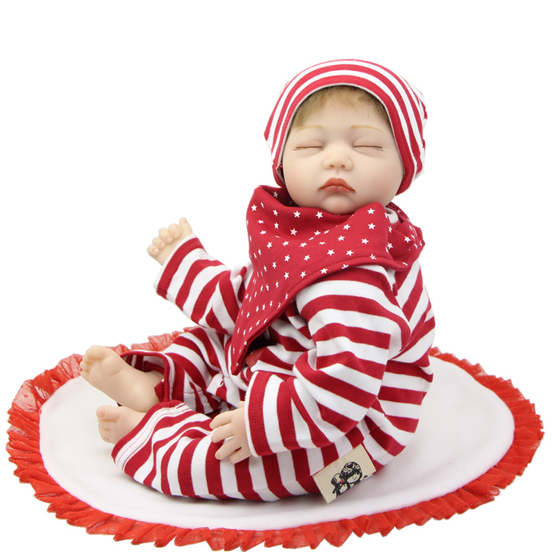 22 Inch Newborn Dolls that Look Real Sleeping 55cm Soft Silicone Reborn Babies Girl Gift  For Children New Year that look and feel real silicone reborn dolls children s intellectual toys baby all soft glue into the water baby babies reborn