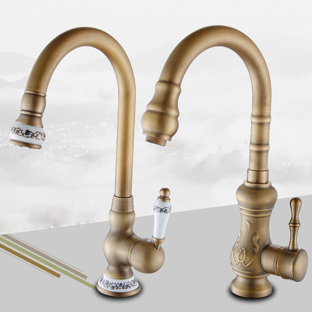 Antique Brass Kitchen Faucet Water Tap Swivel Spout KitchenVanity Sink  Mixer Tap Single Handle