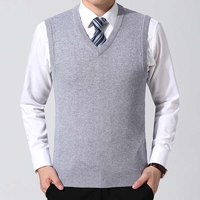 Classic Slim Knitted Pullovers Men V-Neck Sleeveless Chompas Para Hombre Formal Business Pull Homme Casual Solid Sweaters Vest