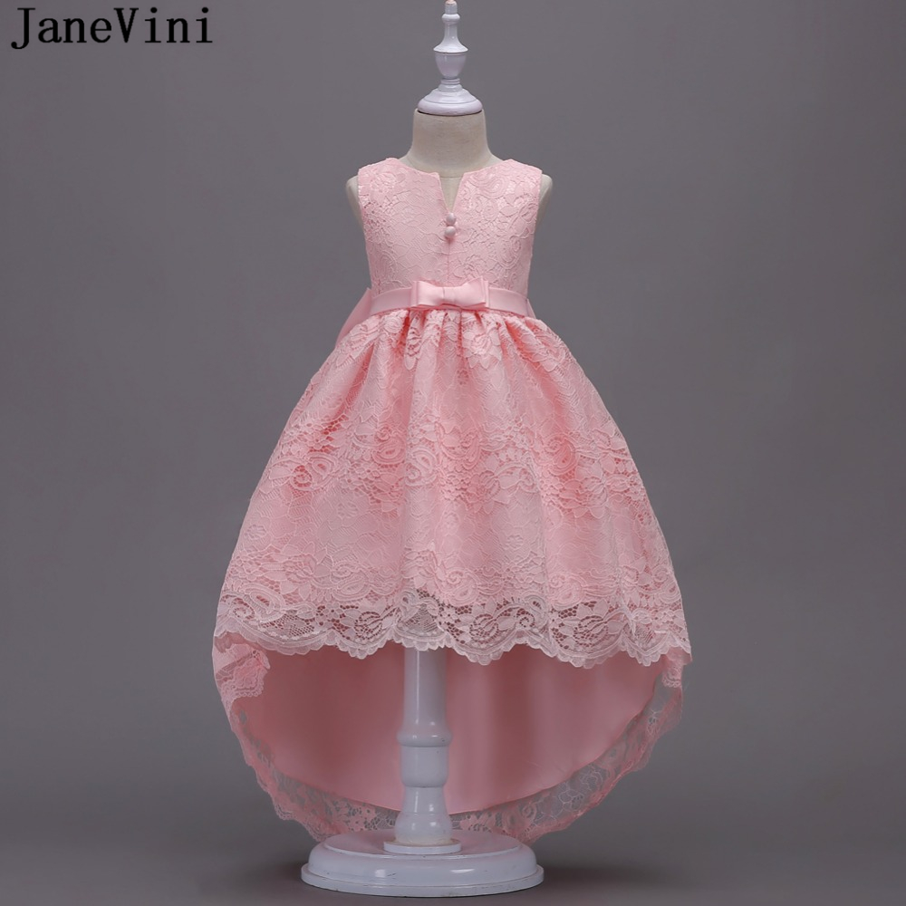 JaneVini Pink Lace High Low   Flower     Girl     Dresses   for Weddings Floor Length Big Bow Back Lace   Girls   Pageant Prom   Dress   Ball Gown