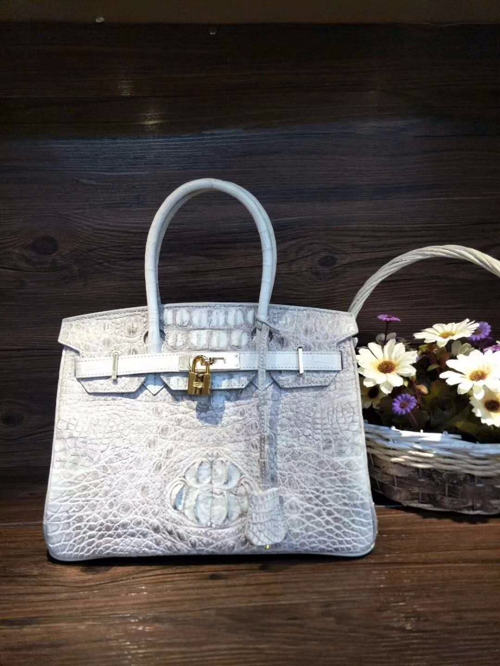 2018 fashion Himalaya white Crocodile head skin Leather Tote Top-handle women Handbag 100% Real/Genuine Crocodile Skin lady bag 2018 fashion genuine real crocodile skin