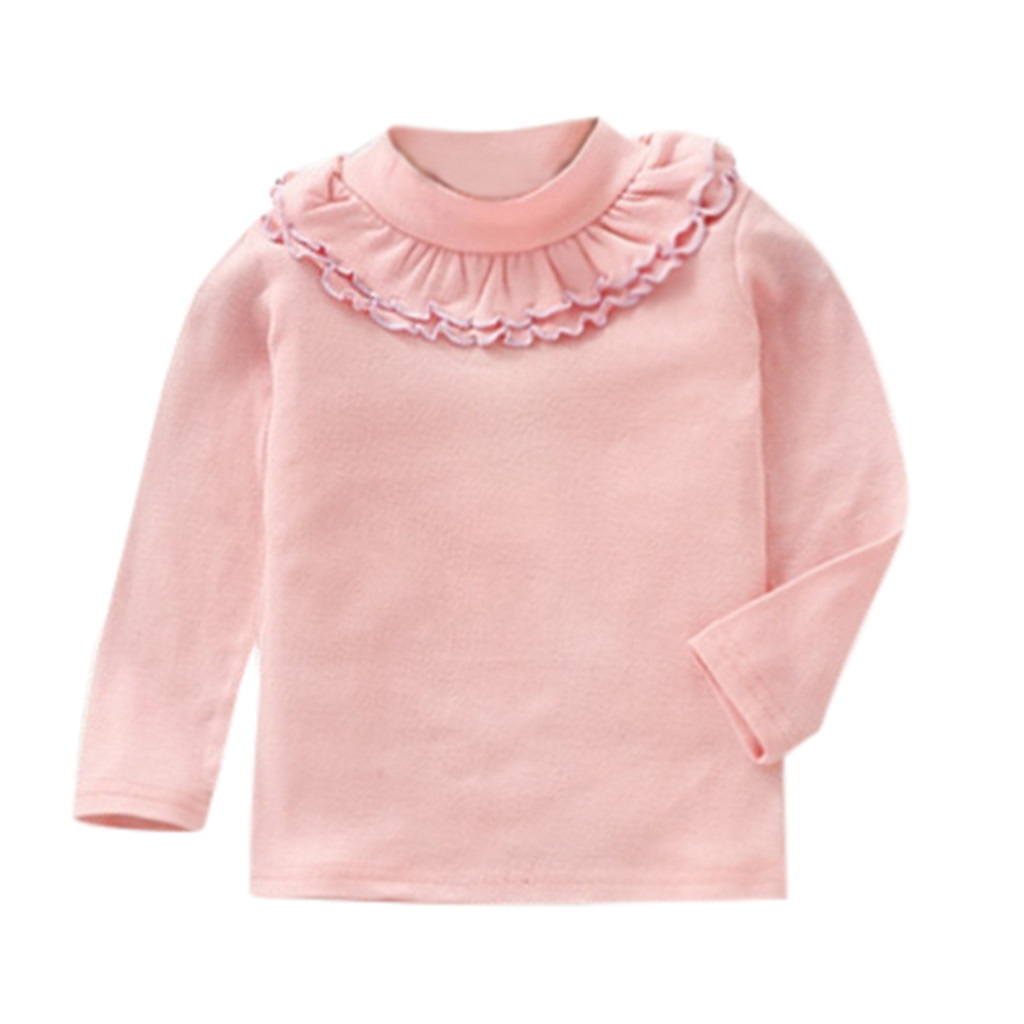 Tops T-Shirts Long-Sleeve Toddler Girl Ruffles Autumn Children Casual Solid -Yl2 Candy-Color