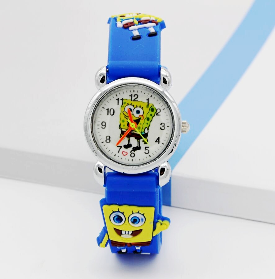 New Famous 3D Cartoon Jelly Silicone Strap Children Quartz Watches Boys Girls Holiday Gifts Lovely Spongebob Squarepants Clock