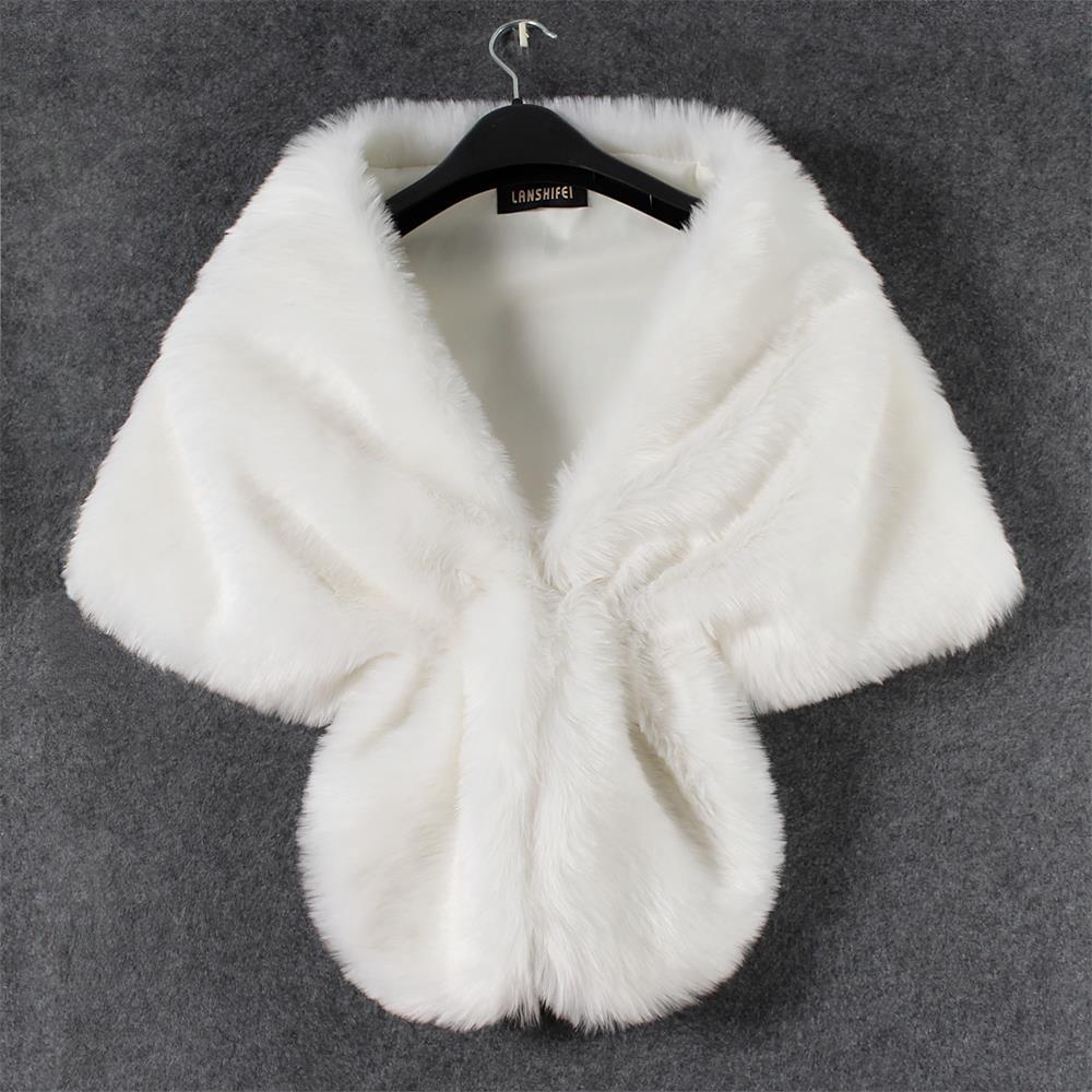 Hot 1 Set Women Elegant Bridal Wedding Faux Fur Long Shawl Stole Wrap Shrug Scarf Coats Women Winter Coat Warm Shawl