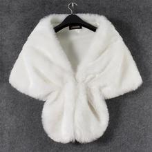 Caliente 1 Set mujeres elegante vestido de novia de piel sintética Mantón largo estola envolver Bolero bufanda abrigos mujeres abrigo de invierno cálido chal