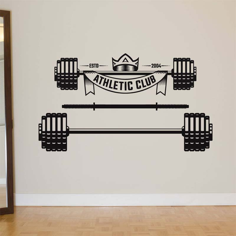 Barbells logo crossfit motivation wall stickers for garage gym art