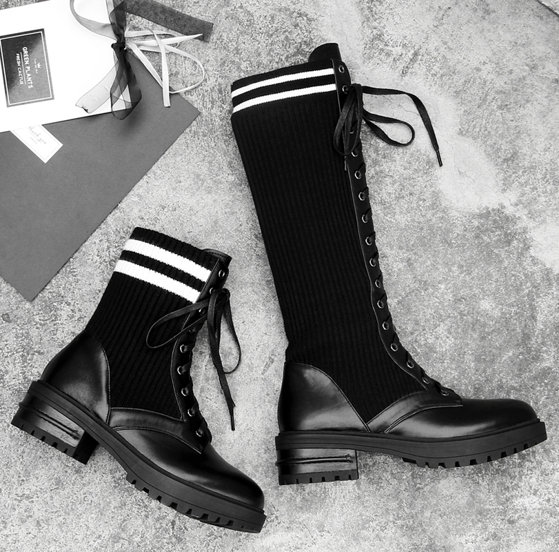 Brand Women Boots Stripe Pattern Women Shoes Leather Chic Booties Front Lace Up Mid-calf Boots Med Heel Stretch Fabric Shoes Hot chic scoop collar totem pattern lace spliced tank top for women