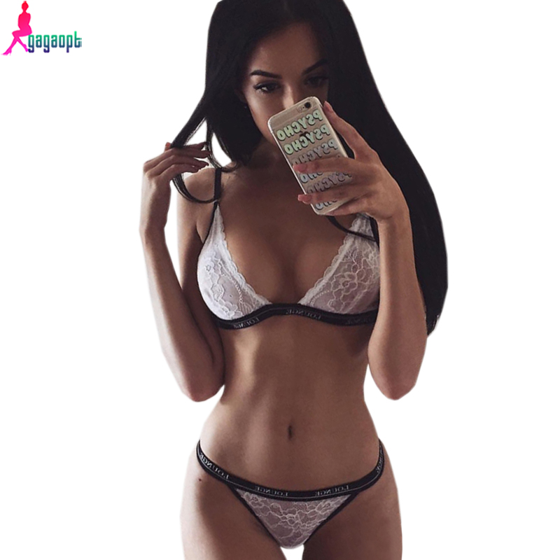 Gagaopt 2016 bra set sexy lace bra women s underwear print lounge black white lingerie underwear