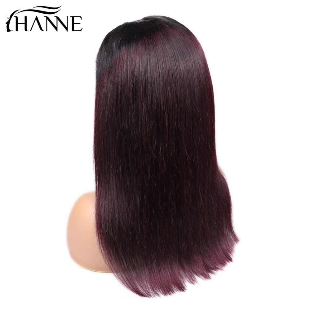 Hanne 4*4 perucas do fechamento do laço 1b/# 99j cor ombre perucas de cabelo humano com cabelo do bebê em linha reta 150% densidade peruca de cabelo brasileiro em estoque