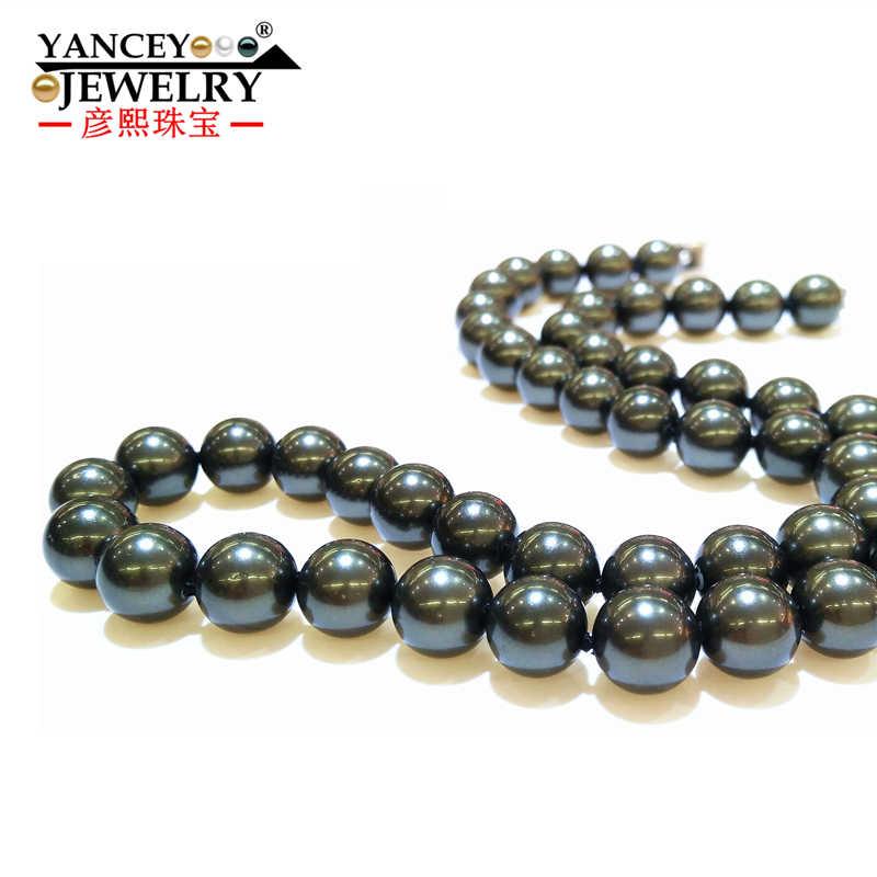 YANCEY Semplice di modo 45 centimetri-140 centimetri Nero colar e colore Misto Della Madre di Collana di Perle per le donne gioielli 8 millimetri Madre di Perle