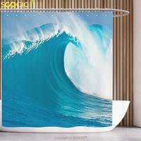 Fun Shower Curtain Ocean Decor Collection Scene of a Clean Big Sea Wave Moving Against Strong Wind View Pattern Navy Blue Aqua