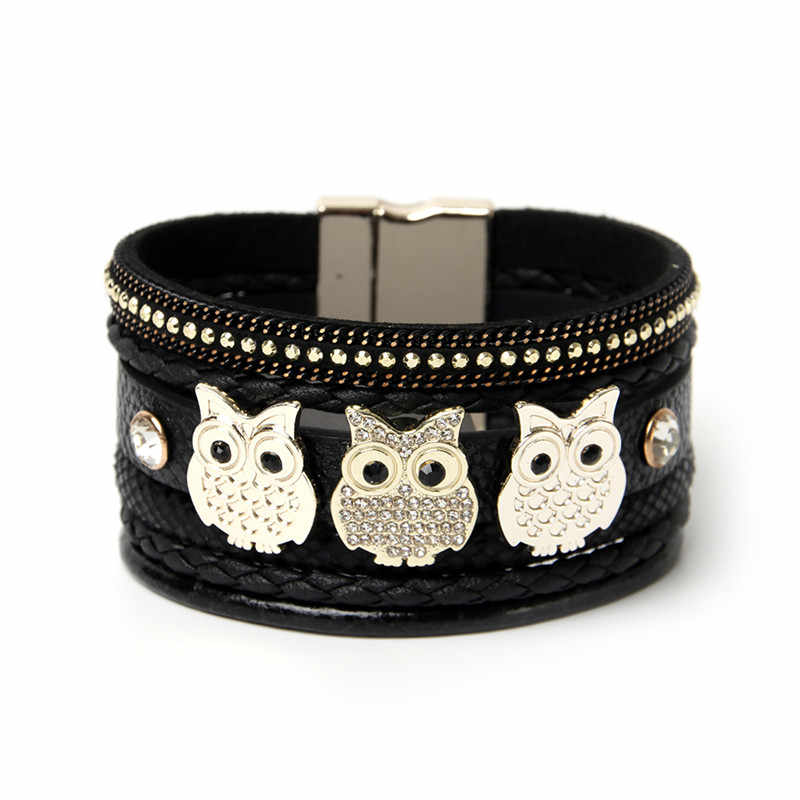ORNAPEADIA Summer New Jewelry Hot Selling Bohemia bracelet Vintage Ethnic OWL Accessories Leather Bangles for women gift