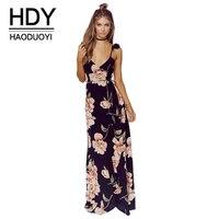 HDY Haoduoyi Fashion Floral Print Dress Women Black Spaghetti Strap Dress V Neck Party Dress Casual