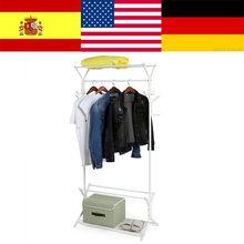 Ship From US Heavy Duty Standing Clothes Coat Rack With 2 Tier Shoes Hanging Hooks Hanger Ties Belt Cabide Gravata