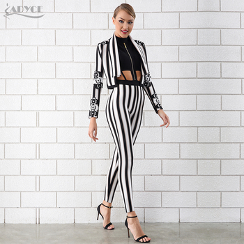 Striped Jacket&jumpsuit 2 Two Pieces Set Night Out Celebrity Evening Party Women Set