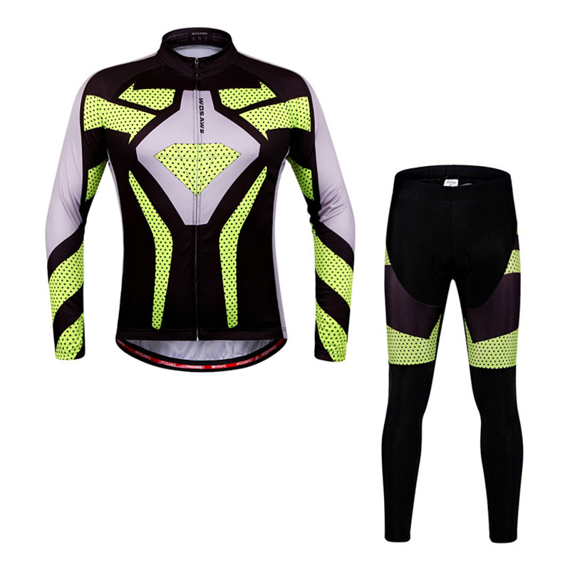 WOSAWE Cycling Set Bike Riding Outdoor Sportswear Long Sleeve Jacket Set Mountain Bike Bicycle Clothing MTB 3D Gel Padded Pants