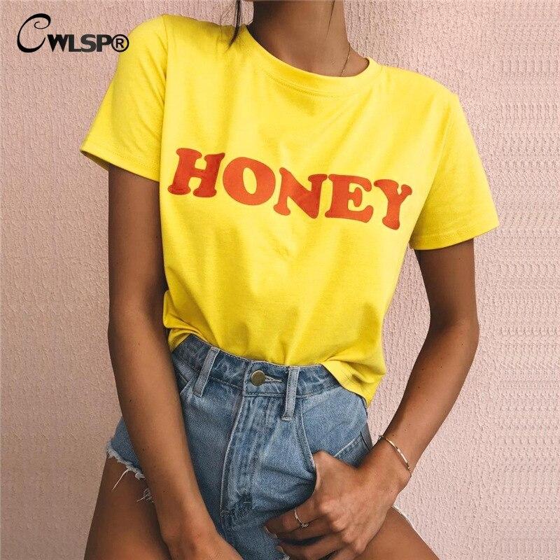 fb97235e9 CWLSP MEL Das Mulheres T-shirt Tops de Verão Carta Impressão Ocasional  Algodão O Pescoço