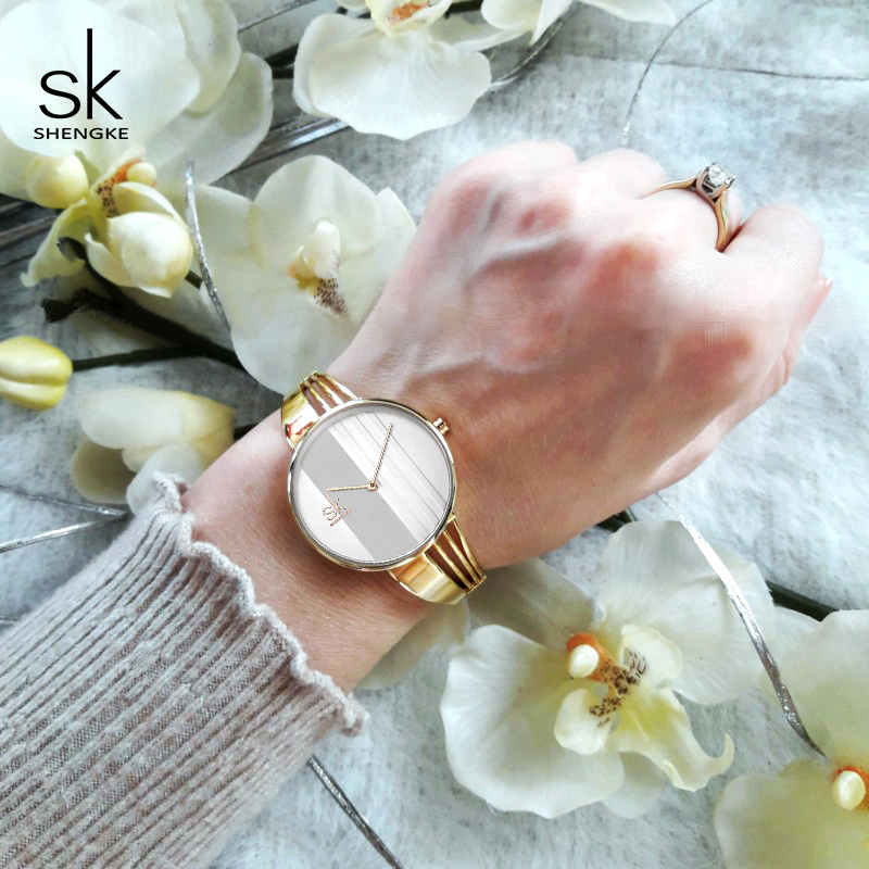 Shengke Creative Quartz Watch Women Luxury Gold Bracelet Watches Ladies Clock Watches 2018 SK Reloj Mujer Christmas Gift #K0062