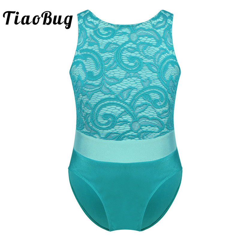 TiaoBug Kids One-piece Sleeveless Lace Color Block Dancewear Children Gymnastics Leotards For Girls Tutu Ballet Dance Costume