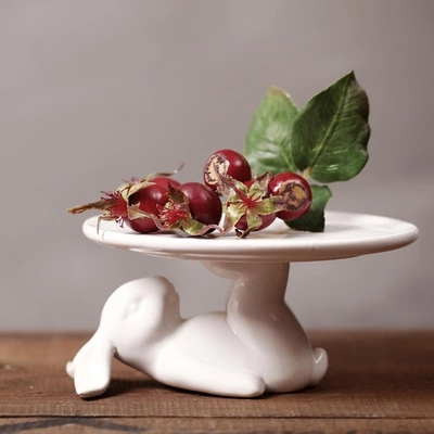 Handmade Ceramic White Lying Rabbit Foot Hold Cake Plate