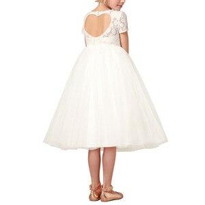 Image 2 - Iiniim フラワーガールズドレスホワイトアイボリーリアル Vestidos パーティープリンセスドレスリトル子供子供の中空ハートドレス結婚式のための