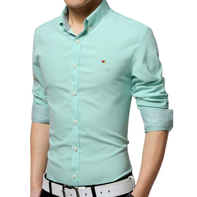 Spring 2016 men's urban fashion shirt Korean Slim male long-sleeved shirt embroidered iron oxford shirt cardigan