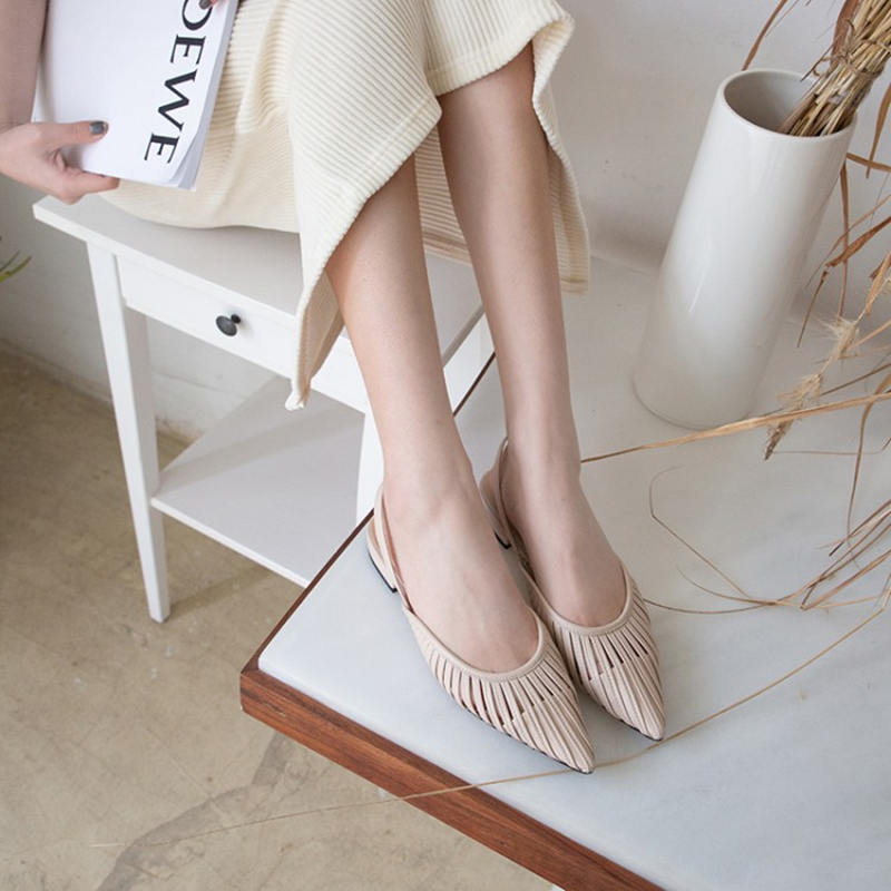 Meifeini 2019 summer pointed flat shoes fashion low with women's sandals leather flat with ladies slippers hollow Muller shoes