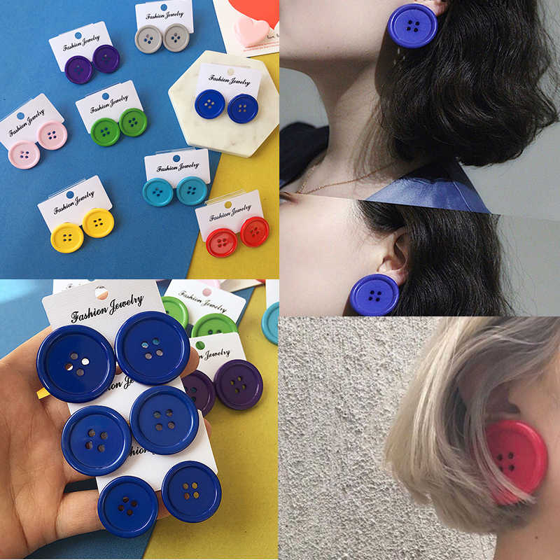 Colorful Candy Color Button Stud Earrings Round Funny Funny Retro Exaggerated Earrings Fit for Women Trendy Jewelry Making