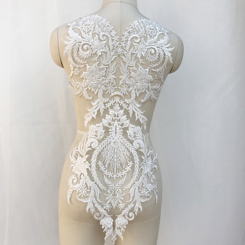 1/3Pieces Ivory Floral Embroidery Lace Applique Beaded Large Lace Motif Patch DIY Wedding Dress Bridal Appliqued