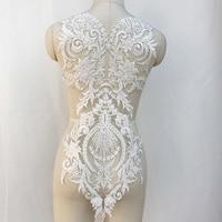 1/3Pieces Ivory Floral Embroidery Lace Applique Beaded Large Lace Motif Patch DIY Wedding Dress Bridal Appliqued