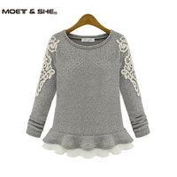 2014 Winter Autumn Embroidery Lace O Neck Skirt Pullover Sweater Female Short Slim Design Cashmere