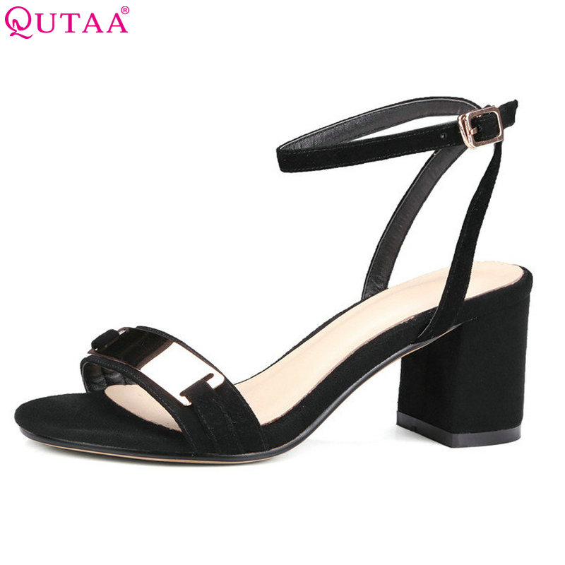 QUTAA 2018 Women Sandals Square Med Heel Slingback Kid Suede Buckle Fashion Women Shoes Brown Ladies Wedding Shoes Size 34-39